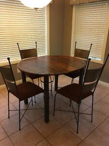 Metal frame table and chairs with wood top Edmonton Edmonton Area image 1