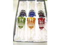 Cristal De Paris Yvan Color Wine Glasses Home Bar Crystal Drinking, Set Of 6 new boxed!!