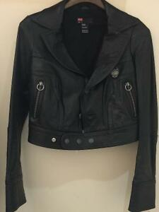 WOMEN'S DIESEL LEATHER MOTO CROP JACKET IN BLACK, SZ M