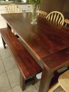 New Rustic Harvest Style Dining Table, Bench & 4 Chairs $600