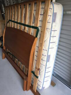 Solid timber queen size bed head, frame and mattress