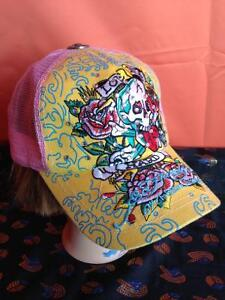 Yellow Pink snap back New Vntg Ed Hardy Hat