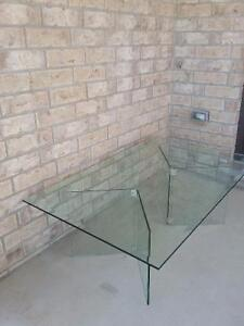 Large beveled glass top with glass base coffee table for sale London Ontario image 10