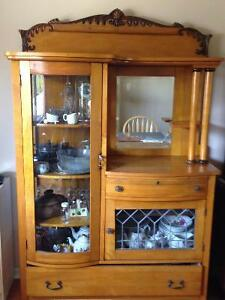 Antique China Cabinet with Mirror