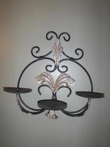Wrought iron decor - wine rack, plate rack, candle holders