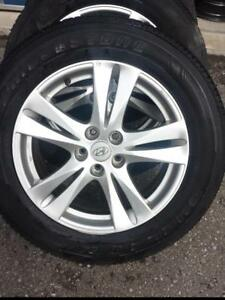 2012 HYUNDAI SANTA FE 18 INCH FACTORY OEM WHEELS WITH 235  /  60  /  18 ALL SEASON TIRES.