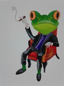Smoking frog hand painting