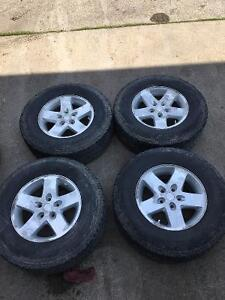 JEEP WRANGLER RIMS AND TIRES WITH TPMS SNOW TIRES