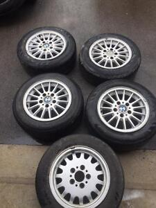 """OEM BMW 3 series 16"""" rims, tires with spare"""