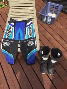 Dirt bike pants and boots