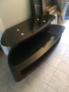 Large tv stand glass and wood mohagany