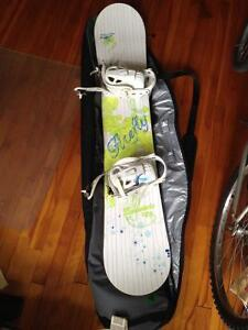 Snowboard with bindings, boots and carrying case