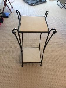 Two cast iron marble side tables for sale