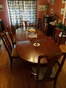 Dining room table, chairs, Hutch + Buffet