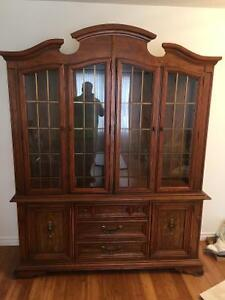 Antique hutch fruit-wood table, chairs, and server