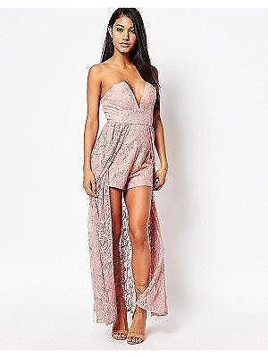 new LOVE TRIANGLE pink lace shorts jumpsuit romper us 6 small s SO HOT!