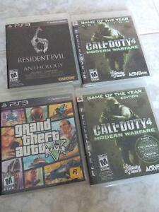 Grand theft auto v, call of duty 4 and resident evil 6
