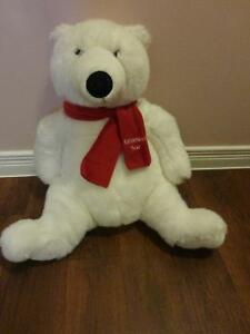 Millennium  teddy bear - white with red scarf