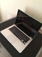 MacBook Pro 13 with charger and case