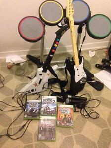 Rock band, beatle rock band, and guitar hero