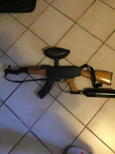 Ak-47 paintball gun with tank and hopper