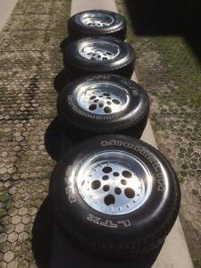Jeep TJ Five Hole Rally Alloy Rims M+S Tires
