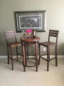 GORGEOUS 100% Teak Pub Table & Three Chairs!