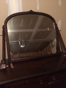 Beautiful, ornate antique dresser with detachable mirror