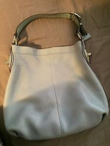 Matching Blue Leather Coach Purse & Wallet