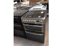 Brand new Hotpoint stainless steel 60cm dual fuel (hud61xs) cooker with 1 year manufacturer warranty