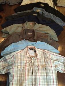 Men's shirts, shorts, bathing suits, jackets