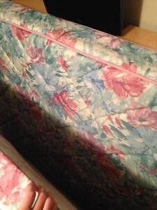 Queen bed, frame, box spring.