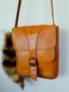 "Small 7x8x2"" Vintage Real Leather Crossbody Messenger Bag Whiskey Brown KATOU plus raccoon tail hippie boho Purse"