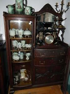 ANTIQUE OAK SIDE BY SIDE CHINA CABINET SIDEBOARD COMBINATION Sarnia Sarnia Area image 1
