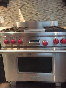 Wolf DF364C Stove and Matching Extractor Hood