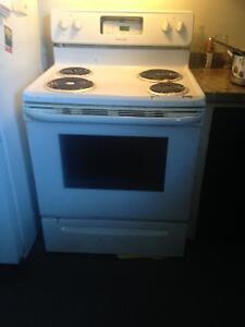 Moffat fridge, and frigidaire stove