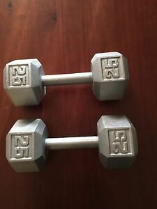 Single 25 lbs hex dumbbell silver weights