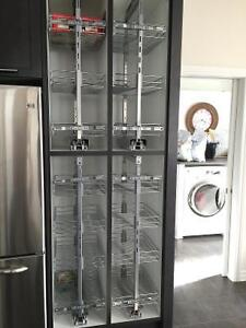 Kitchen pantry with metal slide out racks
