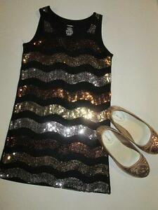 Girls Fall Winter Lot #20 - Size 8 Sequined Dress & Shoes Belleville Belleville Area image 1