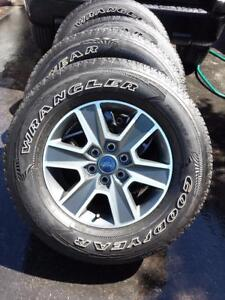 BRAND NEW FORD F150 18 INCH ALLOY WHEELS WITH HIGH PERFORMANCE GOODYEAR WRANGLER FORTITUDE HT 275 / 65 / 18 TIRES