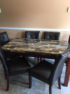 Table and chair set, 7 pieces