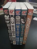 Volumes 1-4 of Death Note and Volume 1 of Attack on Titan Manga