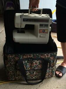 Brother Sewing Machine w Fabric Rolling Case - $75