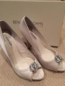 London's Benjamin Adams Silk Peep Toe Heels