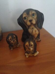 Vintage Kitsch Mother Dog Puppies Babies on chain Boondall Brisbane North East Preview