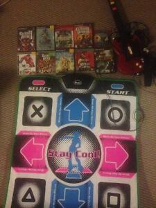 PS3/PS2 games, guitar hero controller, DDR pad, PS1 controller