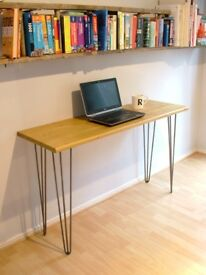 Bespoke handmade wooden table / desk. 120cm x 40cm. Solid wood, hairpin legs. Industrial retro urban