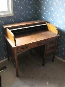 Roll Top Oak Desk