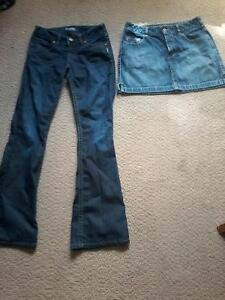 Ladie's sz.small Silver jean's & Silver jean skirt $15.00