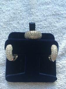 4.00 TW. WHITE GOLD DIAMOND RING AND EARRINGS